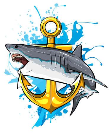 jumping shark illustration with anchor. vector art Ilustração