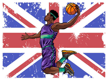 Vector watercolor silhouette basketball player illustration art