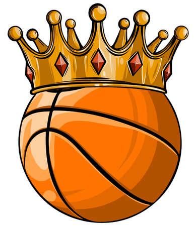 Basketball King Crown. Sport Winner Icon, Emoji Style Illustration.