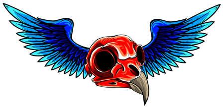 bird skull with wings for tattoo design. Ilustração