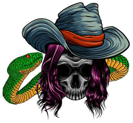 skull twisted by a snake with bones vector Ilustração
