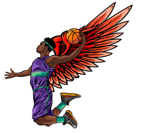 Basketball player. Vector illustration created in topic Second wind