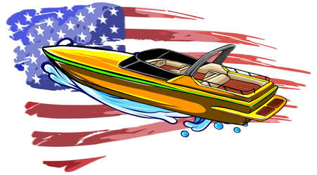 Boat vector speed motorboat yacht traveling in ocean