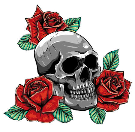 Skull with flowers, with roses. Drawing by hand. Illustration Ilustração