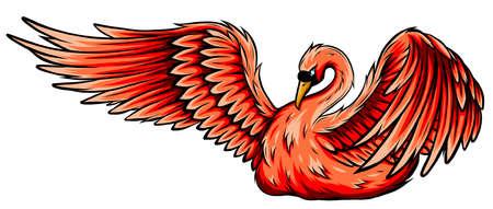 Swan. Hand drawn vector illustration of a swan