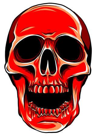 Realistic red skull. vector Illustration for designer on a white background.
