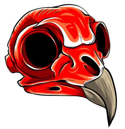 Realistic red bird skull. vector Illustration for designer on a white background. Vektorgrafik