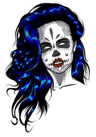 Sad girl with blue hair. Vector illustration on abstract background. Ilustração
