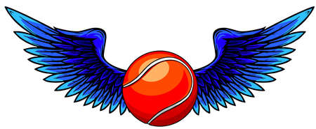 winged icon featuring tennis ball vector illustration