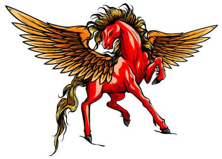 white pegasus, mythological winged horse, illustration isolated on white background vector Illusztráció