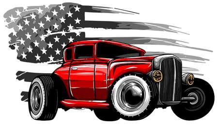Vector Cartoon Retro Hot Rod vector illustration design Vektoros illusztráció