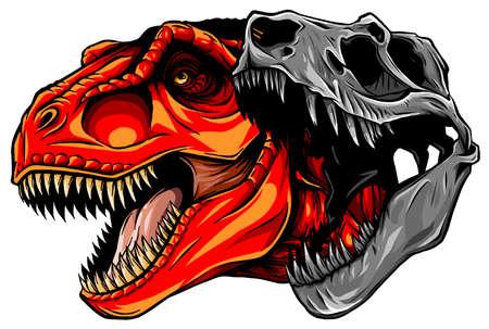 Tyrannosaurus rex skull fossil vector illustration design