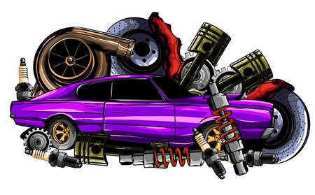 Vector illustration of Car Spares Frame and parts