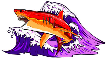 Sea background with jumping out of the water shark, vector illustration