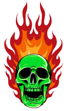 vector illustration of skull falling with fire flame Иллюстрация