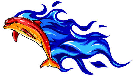 Flaming dolphin vector illustration design art graphic