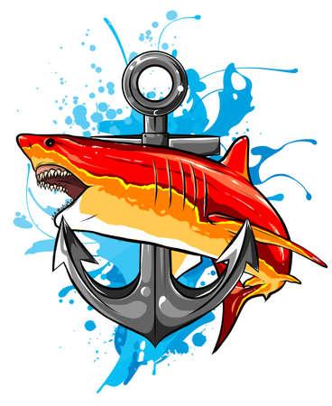 aggressive shark jump attack illustration. vector art