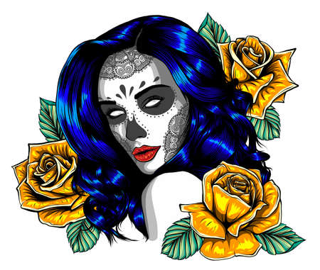 Day of dead sexy girl with flower isolated on white