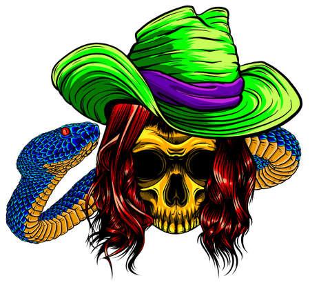 skull king with snake vector illustration design Ilustração