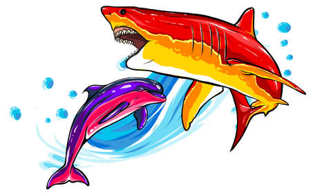 Great White Shark ripping with opened mouth vector Ilustração
