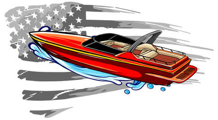 Speedboat flat vector icon. Graph symbol for travel and tourism illustration
