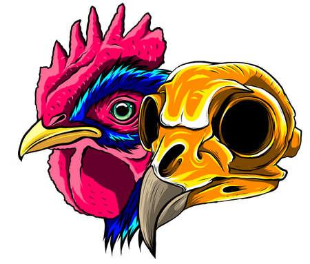 skull Rooster head, realistic vector illustration graphics art Ilustração