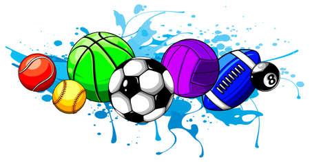 Composed set of different balls. Vector illustration. Ilustração