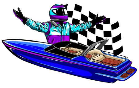 Racing boat. Top view. Vector. Applique with realistic shadows.