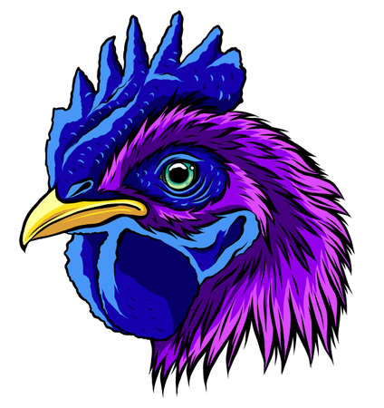 Rooster head, realistic vector illustration graphics art