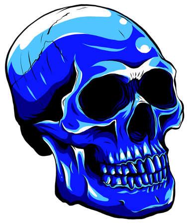 Vector Blue Tattoo Skull Illustration graphics art Ilustração