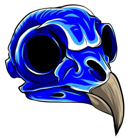 Vector Blue bird Tattoo Skull Illustration graphics art