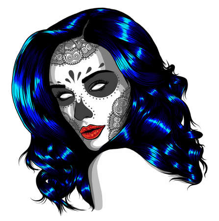 Sad girl with blue hair. Vector illustration on abstract background. Stock fotó - 155748474