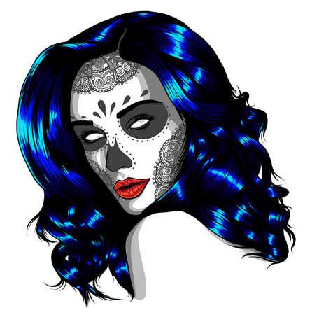 Sad girl with blue hair. Vector illustration on abstract background. Illusztráció