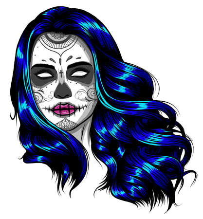 Sad girl with blue hair. Vector illustration on abstract background. Stock fotó - 155748476