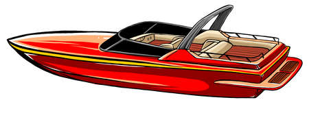 Red fast motorboat. Speedboat, water transport, rescuer. Can be used for topics like tourism, vacation, vessel Ilustração