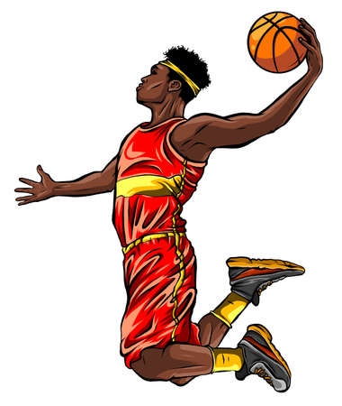 Flat design basketball player dunk vector illustration