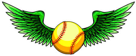 Baseball Ball Flying With Angel Wings vector
