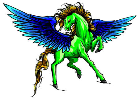 Vector silhouette running horse Pegasus illustartion design