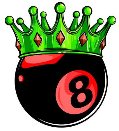Eight Ball Pool Crown vector illustration design