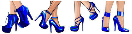 beautiful women legs wearing high-heeled shoes vector illustration