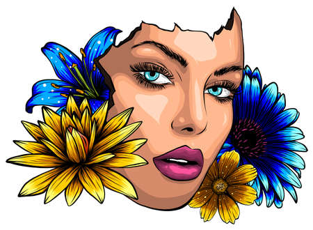 Abstract woman profile with flowers vvector illustration