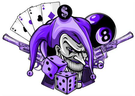 Joker card with gun and ace. vector illustration Illustration