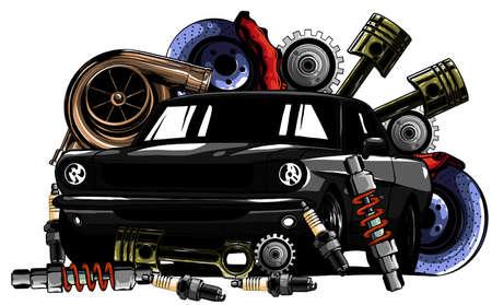 Car system. spare parts. realistic car. vector illustration Vektoros illusztráció