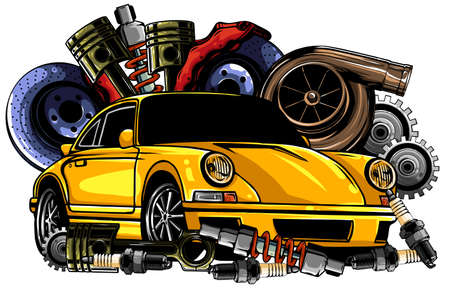 Car system. spare parts. realistic car. vector illustration