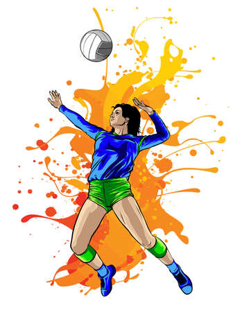 Silhouette of volleyball player with flames. Vector.