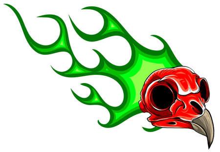 bird Skull in fire tattoo design. Hand drawn vector