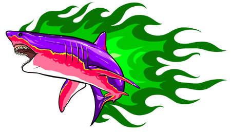 aggressive shark jump attack illustration. white background 矢量图像