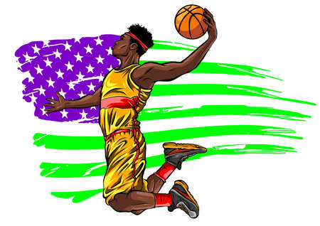 Digital illustration painting of a basketball player vector  イラスト・ベクター素材