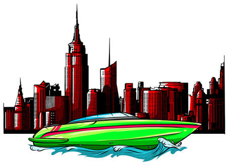 speed luxury boat on city background vector illustration