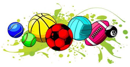 Vector cartoon sports balls set illustratio graphics